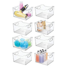 Load image into Gallery viewer, Explore mdesign plastic bathroom vanity storage bin box with handles deep organizer for hand soap body wash shampoo lotion conditioner hand towel hair brush mouthwash 10 long 8 pack clear