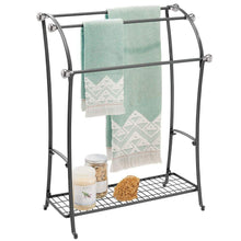 Load image into Gallery viewer, Budget mdesign large freestanding towel rack holder with storage shelf 3 tier metal organizer for bath hand towels washcloths bathroom accessories black brushed steel