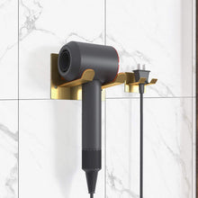 Load image into Gallery viewer, Shop here xigoo adhesive hair dryer holder wall mount bathroom hair blow dryer rack organizer stick on wall fit for most hair dryers upgrade gold