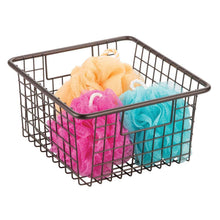Load image into Gallery viewer, Selection mdesign farmhouse decor metal wire storage organizer bin basket with handles for bathroom cabinets shelves closets bedrooms laundry room garage 10 25 x 9 25 x 5 25 4 pack bronze