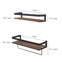 Load image into Gallery viewer, Amazon y me bathroom storage shelf wall mounted set of 2 rustic wood floating shelves with removable towel bar perfect for kitchen bathroom carbonized brown