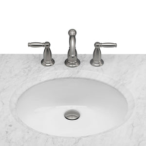 Budget maykke oxford 25 transitional bathroom vanity set in cinnamon marble vanity top carrara white ceramic undermount sink with 8 widespread faucet holes in white lba5024001