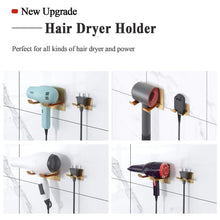 Load image into Gallery viewer, Storage organizer xigoo adhesive hair dryer holder wall mount bathroom hair blow dryer rack organizer stick on wall fit for most hair dryers upgrade gold