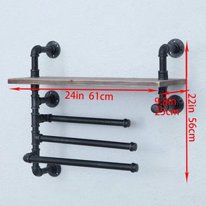 Amazon best industrial towel rack with 3 towel bar 24in rustic bathroom shelves wall mounted farmhouse black pipe shelving wood shelf metal floating shelves towel holder iron distressed shelf over toilet