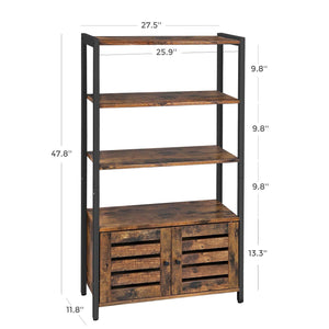 Buy now vasagle industrial storage cabinet bookshelf bookcse bathroom floor cabinet with 3 shelves and 2 shutter doors in living room study bedroom multifunctional rustic brown ulsc75bx