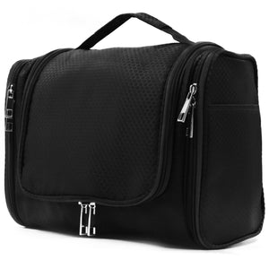 Extra Large Capacity Hanging Toiletry Bag for Men & Women, Portable Waterproof Bathroom Shower Bag, Lightweight Dopp kit Shaving Bag, Sturdy Metal Hook Organizer Makeup Bag (Black) - Omigod, Dibs!™