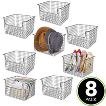 Load image into Gallery viewer, Selection mdesign farmhouse decor metal storage organizer basket vintage grid style for organizing closets shelves cabinets in bedrooms bathrooms entryways hallways 12 wide 8 pack graphite gray