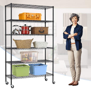 Best bestoffice 6 tier wire shelving unit heavy duty height adjustable nsf certification utility rolling steel commercial grade with wheels for kitchen bathroom office 2100lbs capacity 18x48x82 black
