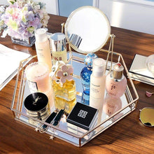 Load image into Gallery viewer, Explore vintage glass tray for decoraive vanity perfume jewelry trinket countertop holder dresser cosmetic organizer ornatte bathroom dish display