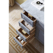 Load image into Gallery viewer, Select nice ariel d043s r gry kensington 43 inch right offset single sink bathroom vanity set in grey with carrara marble countertop