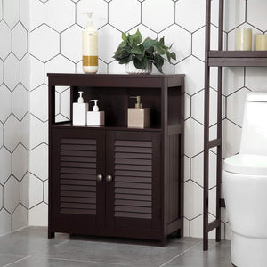 Budget vasagle bathroom storage floor cabinet free standing cabinet with double shutter door and adjustable shelf brown ubbc40br