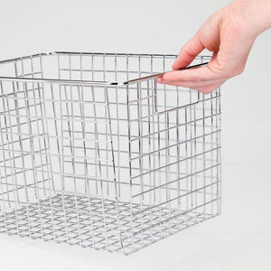 Discover the mdesign large heavy duty metal wire storage organizer bin basket built in handles for food storage kitchen cabinet pantry closet bedroom bathroom garage 12 x 9 x 8 pack of 4 chrome