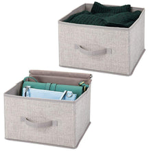 Load image into Gallery viewer, Results mdesign soft fabric closet storage organizer holder cube bin box open top front handle for closet bedroom bathroom entryway office textured print 2 pack linen tan