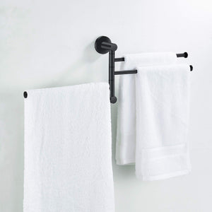Heavy duty towel rack bathroom swivel towel bar 3 multi fold able arms rotation organizer swing towel shelf space saving hanger kitchen hand towel holder wall mount stainless rubber matte black marmolux