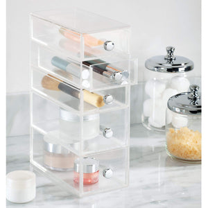 Buy now idesign clarity plastic cosmetic 5 drawer jewelry countertop organization for vanity bathroom bedroom desk office 3 5 x 7 x 10 clear