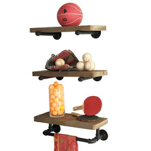 Load image into Gallery viewer, Shop industrial pipe shelves with towel rack diy floating wood shelves and metal bracket pipes rustic mounted wall shelf for bathroom kitchen living room bedroom decorative farmhouse shelving units