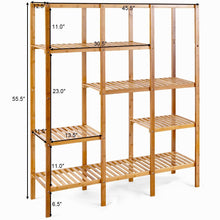Load image into Gallery viewer, Home autentico 5 tiers design multifunctional bamboo shelf storage organizer plant rack display stand solid construction waterproof moistureproof perfect for bathroom balcony kitchen indoor outdoor use