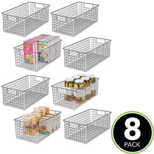 Load image into Gallery viewer, Online shopping mdesign farmhouse decor metal wire food organizer storage bin basket with handles for kitchen cabinets pantry bathroom laundry room closets garage 16 x 9 x 6 in 8 pack graphite gray