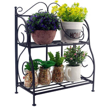 Load image into Gallery viewer, Home sunnyglade spice rack 2 tier foldable shelf rack kitchen bathroom countertop 2 tier standing storage organizer spice jars bottle shelf holder rack black