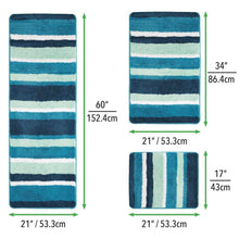 Load image into Gallery viewer, Budget mdesign soft microfiber polyester spa rugs for bathroom vanity tub shower water absorbent machine washable plush non slip rectangular accent rug mat striped design set of 3 sizes teal blue