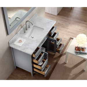 Kitchen ariel kensington d049s gry 49 inch solid wood single sink bathroom vanity set in grey with white carrara marble countertop