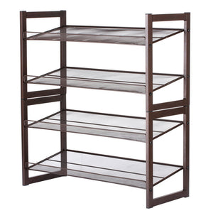 "Rackaphile 4-Tier Stackable Metal Shoe Rack Mesh Utility Shoe Storage Organizer Shelf for Closet Bedroom Entryway 32.3"" × 28.9"" × 12"" Bronze"