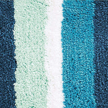 Load image into Gallery viewer, Cheap mdesign soft microfiber polyester spa rugs for bathroom vanity tub shower water absorbent machine washable plush non slip rectangular accent rug mat striped design set of 3 sizes teal blue