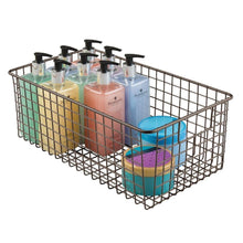 Load image into Gallery viewer, Top mdesign farmhouse decor metal wire bathroom organizer storage bin basket for cabinets shelves countertops bedroom kitchen laundry room closet garage 16 x 9 x 6 in 4 pack bronze