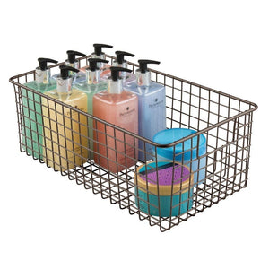 Top mdesign farmhouse decor metal wire bathroom organizer storage bin basket for cabinets shelves countertops bedroom kitchen laundry room closet garage 16 x 9 x 6 in 4 pack bronze