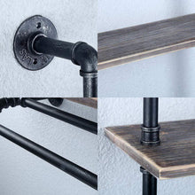 Load image into Gallery viewer, Save on industrial bathroom shelves wall mounted with 2 towel bar 24in rustic pipe shelving 3 tiered wood shelf black farmhouse towel rack metal floating shelves towel holder iron distressed shelf over toilet