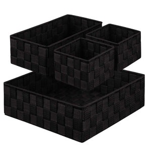 KEDSUM Woven Storage Box Cube Basket Bin Container - Tote Cube Organizer Divider for Drawer, Closet, Shelf, Dresser, Set of 4 (Black)