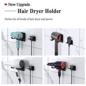 Top xigoo hair dryer holder self adhesive wall mount bathroom hair blow dryer rack organizer fit for most hair dryers upgrade black