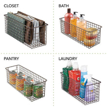 Load image into Gallery viewer, On amazon mdesign bathroom metal wire storage organizer bin basket holder with handles for cabinets shelves closets countertops bedrooms kitchens garage laundry 16 x 6 x 6 4 pack bronze