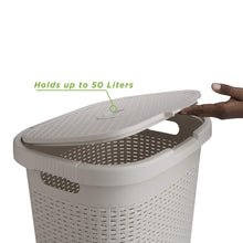 Load image into Gallery viewer, Latest mind reader 50hamp ivo 50 liter hamper laundry basket with cutout handles washing bin dirty clothes storage bathroom bedroom closet ivory