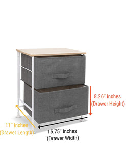 Buy luxton home 2 drawer storage organizer 60 second fast assembly no tools needed small gray linen tower dresser chest dorm room essential closet bedroom bathroom 2d grey