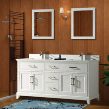 Load image into Gallery viewer, Cheap vanity art 72 inch double sink bathroom vanity set super white phoenix stone soft closing doors undermount rectangle sinks with two free mirror va1072 dw