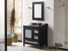 Load image into Gallery viewer, Save on ronbow frederick 24 x 32 transitional solid wood frame bathroom medicine cabinet in black 2 mirrors and 2 cabinet shelves 618125 b02