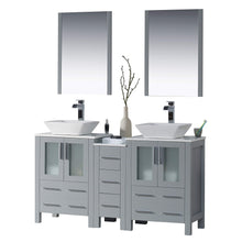 Load image into Gallery viewer, Top blossom sydney 60 inches double vessel sink bathroom vanity side cabinet vessel ceramic sink with mirror solid wood metal grey 001 60 15d 1616v