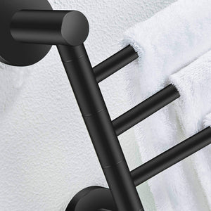 Explore towel rack bathroom swivel towel bar 3 multi fold able arms rotation organizer swing towel shelf space saving hanger kitchen hand towel holder wall mount stainless rubber matte black marmolux