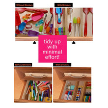 Load image into Gallery viewer, Order now rapturous bamboo drawer dividers pack of 5 expandable drawer organizers with anti scratch foam edges adjustable drawer organization separators for kitchen bedroom baby drawer bathroom desk