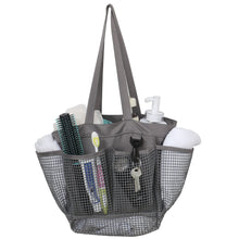 Load image into Gallery viewer, Utopia Alley Mesh Portable Shower Caddy, Quick Dry Shower Tote Bag, Bathroom Organizer Bag, Gray/Blue Color. Perfect For Dorm, Gym, Bath with Handles.