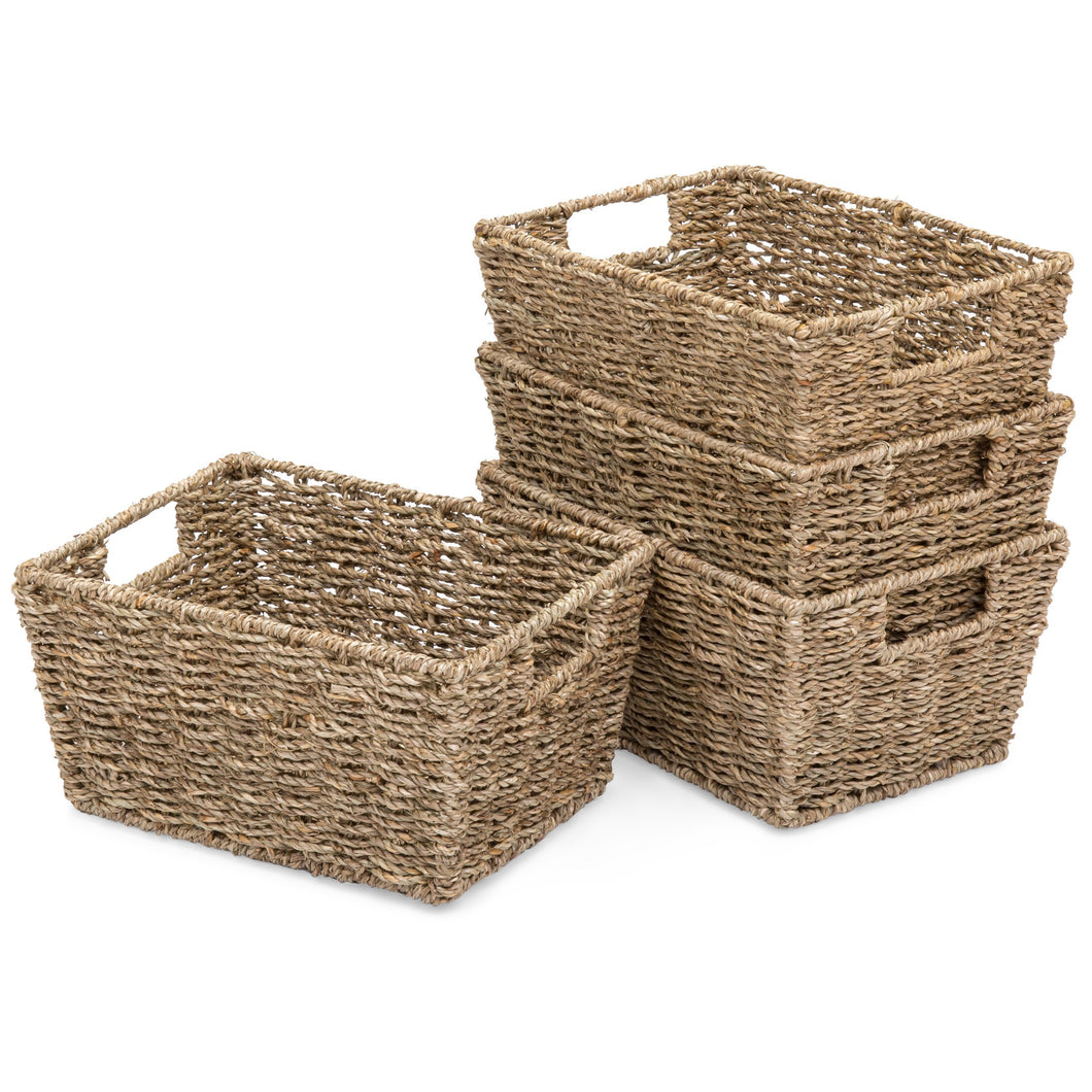 Set of 4 Seagrass Storage Laundry Organizer Tote Baskets w/ Insert Handles
