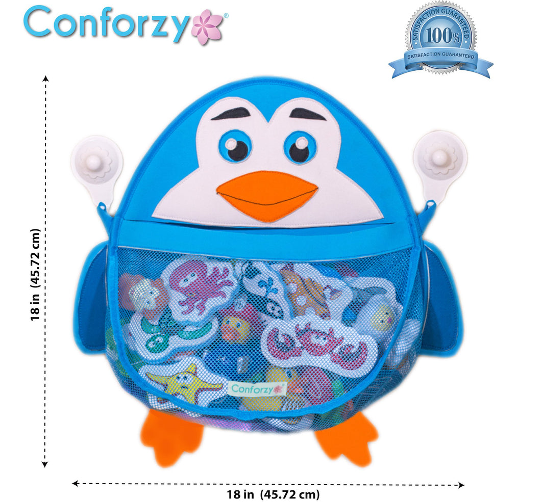 Blue Penguin Bath Toy Organizer