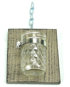 Decorative Handcrafted Wood With Mason Jar, Tan - Lot of 2
