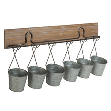 Load image into Gallery viewer, Pailey Rustic Farmhouse 6 Mini Bucket Wall Storage
