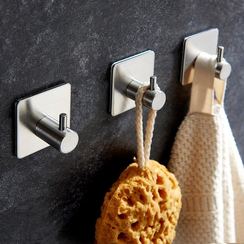 Stainless Steel Adhesive Bathroom Towel Hooks - Prettyhooks