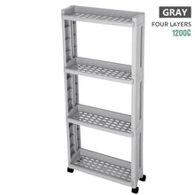 Load image into Gallery viewer, For kitchen storage rack fridge side shelf 3/4 layer removable with wheels bathroom organizer shelf gap holder.