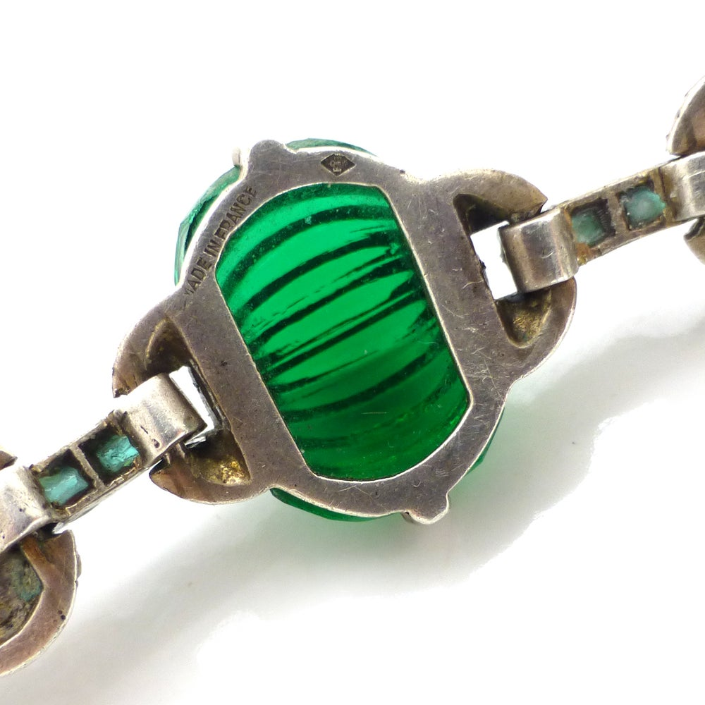 Antique Art Deco French Silver Green Glass Paste Parisian Couture Necklace