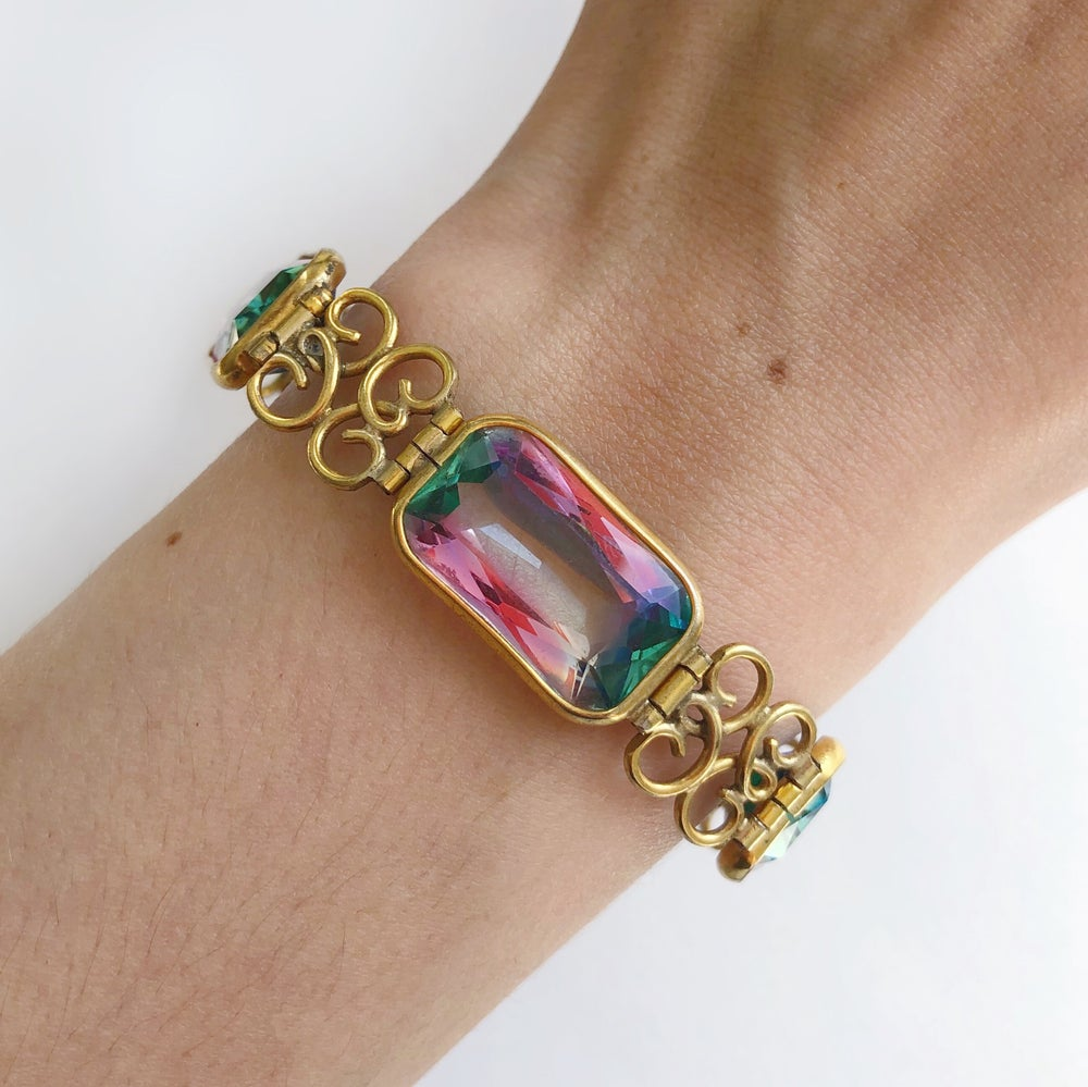 Antique Edwardian French Iris Rainbow Glass Gold Filigree Panel Bracelet