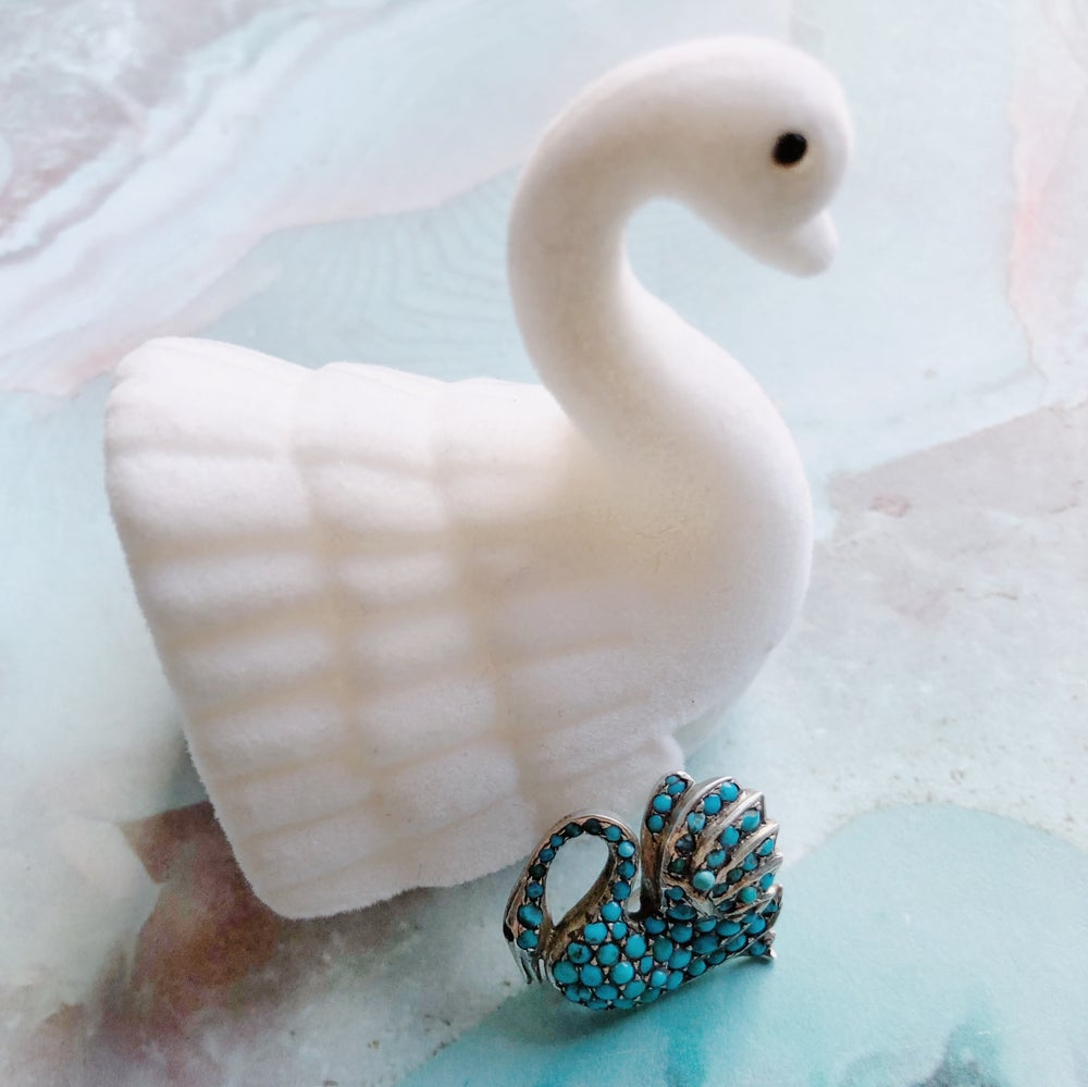 Antique Victorian Silver Pave Set Turquoise Swan Brooch